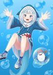 1girl :d animal_hood bangs bloop_(gawr_gura) blue_background blue_eyes blue_hoodie blue_legwear blunt_bangs blush bubble bubble_background commentary_request convenient_leg cross-laced_clothes eyebrows_visible_through_hair fish_bone fish_tail flat_chest floating foot_out_of_frame gawr_gura gradient gradient_background gradient_clothes highres hololive hololive_english hood hoodie knees_up long_sleeves looking_at_viewer medium_hair multicolored_hair omaehadareda-uso open_mouth outstretched_arms shark_hood shark_tail sharp_teeth shoes sidelocks silver_hair simple_background smile sneakers solo streaked_hair tail teeth upper_teeth virtual_youtuber wide-eyed