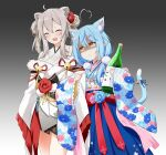 2girls absurdres ahoge animal_ear_fluff animal_ears bare_legs bell blue_hair blue_skirt blush bottle bow breasts cat_ears cat_tail closed_eyes closed_mouth coat commentary cowboy_shot ear_piercing empty_eyes eyebrows_visible_through_hair fang felutiahime floral_print flower furisode glaring gradient gradient_background grey_background grey_kimono hair_between_eyes hair_flower hair_ornament hairclip heart_ahoge highres holding holding_bottle hololive japanese_clothes kemonomimi_mode kimono light_blue_hair lion_ears long_hair looking_at_another medium_breasts multicolored_hair multiple_girls nervous_smile obi open_mouth piercing pointy_ears red_bow ribbon sake_bottle sash shaded_face shishiro_botan short_kimono silver_hair simple_background skirt smile streaked_hair sweatdrop tail tail_bell tail_ornament tail_ribbon thighs twintails two-tone_hair virtual_youtuber white_coat yagasuri yellow_eyes yukihana_lamy