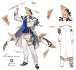 1boy :o artist_name black_shirt blue_neckwear brown_footwear bullet_hole copyright_name cuffs dare_ga_tame_no_alchemist facial_hair finger_twirl hand_on_own_chin hand_up handcuffs holster jacket japants male_focus multicolored_hair multiple_views mustache necktie official_art pants shirt shoes smile standing thigh_strap two-tone_hair wanted white_background white_jacket white_pants