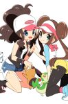2girls baseball_cap black_legwear blue_eyes breasts brown_hair chorimokki closed_mouth denim denim_shorts double_bun gen_5_pokemon hat high_ponytail hilda_(pokemon) legwear_under_shorts long_hair looking_at_viewer multiple_girls open_mouth oshawott pantyhose pokemon pokemon_(creature) pokemon_(game) pokemon_bw pokemon_bw2 rosa_(pokemon) shorts smile snivy tepig twintails visor_cap yellow_shorts