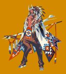 1boy black_pants bodypaint commentary covered_eyes dark_skin dark_skinned_male eda feathers full_body headdress holding holding_staff horned_headwear horns jewelry male_focus native_american native_american_headdress navel necklace orange_background original pants parted_lips pectorals pipe smoke solo staff standing stomach teeth toned toned_male white_footwear