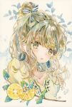 1girl bow earrings food fruit green_eyes green_hair hair_bow highres jewelry leaf lemon lemon_slice open_mouth original ponytail shirt solo striped striped_bow traditional_media visible_ears water_drop watercolor_(medium) yellow_shirt yukoring