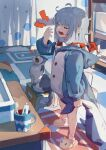 1girl absurdres animal_hood animal_slippers cat closed_eyes cup highres holding holding_stuffed_toy hood hoodie ikada_sora long_hair open_mouth original shark_hood slippers solo stuffed_animal stuffed_toy tears toothbrush toothpaste white_hair yawning