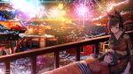 2021 2girls alternate_costume alternate_hairstyle animal_ear_fluff animal_ears architecture artist_name atago_(azur_lane) azur_lane black_kimono brown_hair east_asian_architecture fireworks floral_print flower hair_flower hair_ornament japanese_clothes kimono kitsune-neko long_hair multiple_girls new_year red_kimono sash snow takao_(azur_lane) yellow_sash