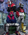 blue_hoodie choudenji_machine_voltes_v crossed_arms crossover daimos daimos_(mecha) fashion golion_(mecha) hand_in_pocket highres hood hoodie hyakujuu-ou_golion jacket kensuke_creations looking_down looking_up mecha multiple_crossover no_humans pants red_vest shoes sneakers squatting super_robot sweatpants track_jacket vest voltes_v_(mecha) voltron_(mecha) voltron_(series)