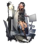 1girl animal_ears arknights black_gloves black_headwear black_shirt black_shorts cape full_body gloves gravel_(arknights) gravel_(model's_night)_(arknights) jewelry long_hair long_sleeves looking_at_viewer mouse_ears necklace official_alternate_costume official_art pink_hair red_eyes ryuuzaki_ichi shirt shorts smile solo stage_lights standing thighs transparent_background watermark white_cape