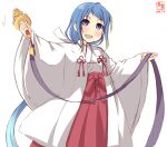 1girl alternate_costume artist_logo bangs bell blue_eyes blue_hair commentary_request dated gradient_hair hakama highres japanese_clothes jingle_bell kagura_suzu kanon_(kurogane_knights) kantai_collection kimono long_hair looking_at_viewer miko multicolored_hair red_hakama ribbon-trimmed_sleeves ribbon_trim samidare_(kantai_collection) simple_background smile solo standing swept_bangs very_long_hair white_background white_kimono wide_sleeves