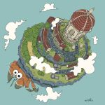 artist_name blue_background building clouds day from_above hermit_crab highres misato._(misato08280) original outdoors road scenery silo stairs tower tree