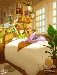 1girl annotated arm_up artist_name bangs bed bedroom blunt_bangs bob_cut book brown_hair bulbasaur charizard closed_eyes commentary day espeon film_grain gen_1_pokemon gen_2_pokemon gloria_(pokemon) green_shirt highres indoors lamp medium_hair on_bed oshiruko_(oshiruko_s2) pajamas picture_(object) plant pokemon potted_plant sandals shirt short_sleeves signature sitting smile solo squirtle starter_pokemon_trio stretch stuffed_animal stuffed_toy symbol_commentary under_covers waking_up window