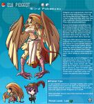 1boy 1girl artist_name bird_legs blonde_hair breasts brown_eyes brown_feathers english_text feathered_wings feathers gen_1_pokemon harpy highres kinkymation large_breasts monster_girl orange_feathers pidgeot poke_ball pokemon purple_hair strapless tail tail_feathers talons tan tanline tubetop wings