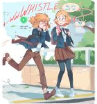 !? 1boy 1girl absurdres black_legwear black_neckwear blonde_hair blush brown_footwear brown_pants brown_skirt contemporary day english_text full_body gameplay_mechanics highres holding holding_phone link min_dei_bae necktie outdoors pants pantyhose phone pleated_skirt pointy_ears power_lines princess_zelda running school_uniform shirt skirt spoken_interrobang the_legend_of_zelda the_legend_of_zelda:_breath_of_the_wild tree whistling white_footwear white_shirt