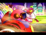 1girl 2boys helmet highres kirby kirby:_planet_robobot kirby_(series) mecha_knight multiple_boys no_humans pink_hair road susie_(kirby) visor