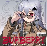 absurdres abyssal_hunters_logo adjusting_eyewear alternate_costume arknights barcode brown_coat casual coat earrings english_text glint hair_ornament highres jewelry long_sleeves looking_at_viewer nail_polish purple_nails red_eyes sideways_glance siguma_(13238772100) silver_hair skadi_(arknights) smile sunglasses sword_earrings upper_body whale_hair_ornament
