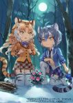 animal_ears animal_print aureolin31 blonde_hair blue_flower blue_hair blue_jacket blue_neckwear blue_rose blue_skirt bow bowtie collared_shirt commentary_request curly_hair extra_ears eyebrows_visible_through_hair flower forest full_moon garter_straps golden_tabby_tiger_(kemono_friends) jacket kemono_friends kemono_friends_3:_planet_tours kneeling light_brown_hair long_sleeves maltese_tiger_(kemono_friends) moon multicolored_hair nature night night_sky official_art open_clothes open_jacket plaid plaid_skirt plaid_trim pleated_skirt print_legwear rose shirt short_hair skirt sky snow tail thigh-highs tiger_ears tiger_girl tiger_print tiger_tail white_hair white_shirt yellow_eyes yellow_jacket