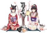 2girls alternate_costume animal animal_ears ann_(ann58533111) atago_(azur_lane) azur_lane black_hair blush closed_mouth dog dog_ears hair_ornament hand_on_own_knee japanese_clothes kimono long_hair looking_at_viewer multiple_girls new_year open_mouth ponytail sitting smile takao_(azur_lane) white_background yellow_eyes