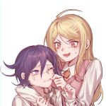 1boy 1girl :d ahoge akamatsu_kaede arm_around_shoulder bangs blonde_hair blush brown_neckwear checkered checkered_scarf cheek_pinching collared_shirt commentary_request crying danganronpa_(series) danganronpa_v3:_killing_harmony eighth_note ewa_(seraphhuiyu) grey_background hair_between_eyes hair_ornament height_difference hetero highres long_hair long_sleeves looking_at_another musical_note musical_note_hair_ornament necktie one_eye_closed open_mouth ouma_kokichi pinching pink_sweater_vest purple_hair scarf shirt simple_background smile sweatdrop sweater_vest tears upper_body violet_eyes white_background white_shirt