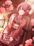1girl absurdres blurry_foreground commentary_request dutch_angle flower grin hair_bun haori highres huge_filesize indoors japanese_clothes kimono looking_at_viewer nail_polish nengajou new_year obi oil-paper_umbrella original pink_eyes pink_flower pink_hair print_kimono sash seiza short_hair_with_long_locks sitting smile solo tatami tied_hair tokufumi triangle_print umbrella