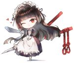 1girl apron bangs black_dress black_hair black_hairband character_request chibi commentary_request dress eyebrows_visible_through_hair floating_hair frilled_apron frilled_hairband frills full_body gloves grey_footwear hairband head_tilt heart kotatu_(akaki01aoki00) last_origin long_hair long_sleeves looking_at_viewer one_eye_closed pantyhose parted_lips puffy_short_sleeves puffy_sleeves red_eyes shadow shoes short_over_long_sleeves short_sleeves smile solo standing very_long_hair white_apron white_background white_gloves white_legwear