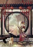1girl architecture bamboo_scroll barefoot bench blue_eyes braid brown_hair capelet commentary_request dog dress east_asian_architecture grass headdress highres long_hair original red_capelet sitting takeda_hotaru traditional_clothes white_dress wide_shot