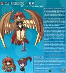 1boy 1girl artist_name bird_legs breasts brown_eyes brown_feathers english_text feathered_wings feathers gen_1_pokemon harpy highres kinkymation large_breasts monster_girl orange_feathers orange_hair pidgeotto poke_ball pokemon purple_hair tail tail_feathers talons wings