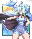 1girl absurdres artist_name black_cape blue_hair blush cape clair_(pokemon) cowboy_shot gen_2_pokemon gloves hair_between_eyes highres kingdra long_hair looking_at_viewer pokemon pokemon_(creature) pokemon_(game) pokemon_hgss ponytail sagas293 smile solo