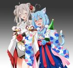 2girls @_@ absurdres ahoge animal_ear_fluff animal_ears bare_legs bell blue_hair blue_skirt blush bottle bow breasts cat_ears cat_tail closed_eyes coat commentary cowboy_shot ear_piercing eyebrows_visible_through_hair fang felutiahime floral_print flower furisode gradient gradient_background grey_background grey_kimono hair_between_eyes hair_flower hair_ornament hairclip heart_ahoge highres holding holding_bottle hololive japanese_clothes kemonomimi_mode kimono light_blue_hair lion_ears long_hair looking_at_viewer medium_breasts multicolored_hair multiple_girls obi open_mouth piercing pointy_ears red_bow ribbon sake_bottle sash shishiro_botan short_kimono silver_hair simple_background skirt smile streaked_hair sweatdrop tail tail_bell tail_ornament tail_ribbon tears thighs twintails two-tone_hair virtual_youtuber wavy_mouth white_coat yagasuri yellow_eyes yukihana_lamy