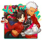 1boy 1girl archer arm_around_waist bangs black_skirt blush brown_hair closed_mouth cup dark_skin dark_skinned_male english_text eyebrows_visible_through_hair fate/grand_order fate/stay_night fate_(series) green_eyes grey_eyes hair_ribbon hair_slicked_back holding holding_cup holding_tray hug jacket laughing long_hair long_sleeves looking_at_viewer mepo_(raven0) open_mouth pink_background pleated_skirt ribbon short_hair simple_background skin_tight skirt smile sparkle sweater tassel tea teacup teapot tohsaka_rin tray twintails two_side_up white_background white_hair