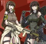 2girls absurdres bangs breasts brown_hair detached_sleeves dinoyhs dual_persona girls_frontline gloves highlights highres m4a1_(girls_frontline) medium_breasts mod3_(girls_frontline) multicolored_hair multiple_girls sidelocks skull_mask sleeveless_sweater