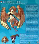 1boy 1girl artist_name bird_legs brown_eyes brown_feathers brown_hair english_text feathered_wings feathers gen_1_pokemon harpy highres kinkymation monster_girl pidgey poke_ball pokemon purple_hair tail tail_feathers talons wings