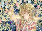 1girl closed_eyes closed_mouth floral_print flower green_hair hair_flower hair_ornament highres japanese_clothes kimono leaf original plaid smile solo star_(symbol) tanabata traditional_media upper_body watercolor_(medium) wide_sleeves yukata yukoring