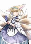 1girl animal_ears arknights bangs blonde_hair blue_dress blue_hairband dress fang fox_ears fox_tail gloves hair_rings hairband highres infection_monitor_(arknights) looking_at_viewer multicolored_hair multiple_tails open_mouth oripathy_lesion_(arknights) simple_background single_glove skin_fang solo suzuran_(arknights) tail two-tone_hair white_background white_hair yellow_eyes yuuki_mix
