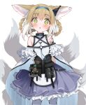 1girl animal_ears arknights arms_behind_back bag black_vest blue_skirt blush braid breasts cowboy_shot earpiece eip_(pepai) eyebrows_visible_through_hair fox_ears fox_tail frilled_shirt frilled_skirt frills green_eyes hair_rings hairband infection_monitor_(arknights) light_brown_hair looking_at_viewer medium_hair multicolored_hair multiple_tails open_mouth oripathy_lesion_(arknights) pantyhose satchel shirt simple_background skirt sleeveless sleeveless_shirt small_breasts solo suzuran_(arknights) tactical_clothes tail twin_braids two-tone_hair vest white_background white_hair white_legwear white_shirt