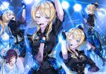 aiguillette ayase_eli bangs black_gloves black_shirt blonde_hair blue_eyes bow eyebrows_visible_through_hair fingerless_gloves full_body gloves hair_bow hair_ribbon headset high_ponytail long_hair love_live! love_live!_school_idol_project multiple_views music one_eye_closed ponytail ribbon shirt short_sleeves signature singing solo_focus stage stage_lights swept_bangs toujou_nozomi zawawa_(satoukibi1108)