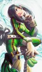 1girl :p absurdres asui_tsuyu black_hair bodysuit boku_no_hero_academia breasts brown_gloves commentary_request eyebrows_visible_through_hair gibagiba gloves green_bodysuit green_eyes helmet highres holding holding_helmet huge_filesize long_hair long_tongue looking_at_viewer medium_breasts solo tongue tongue_out very_long_hair