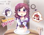 ahoge birthday blush brown_hair cake curled_horns dated demon_girl demon_horns demon_tail eyebrows_visible_through_hair food happy_birthday highres horns lilith_(machikado_mazoku) long_hair machikado_mazoku mother_and_daughter multiple_girls n88_colpla open_mouth tail translation_request yoshida_ryouko yoshida_seiko yoshida_yuuko_(machikado_mazoku)