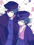 2boys :d alternate_costume bangs black_headwear black_jacket commentary_request danganronpa_(series) danganronpa_v3:_killing_harmony ewa_(seraphhuiyu) floral_background floral_print green_hair hair_between_eyes hakama hand_on_headwear hand_up happy hat highres jacket japanese_clothes looking_at_another male_focus multiple_boys open_mouth ouma_kokichi pleated_skirt saihara_shuuichi shirt short_hair skirt smile tagme white_shirt