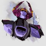 decepticon english_commentary from_below galvatron grey_background hinomars19 horns looking_up mecha no_humans red_eyes smirk solo transformers transformers_armada