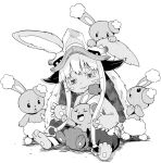 1other @_@ animal_ears artist_request black_sclera buneary colored_sclera gen_4_pokemon happy highres long_hair made_in_abyss nanachi_(made_in_abyss) pokemon_(creature) rabbit_ears smile trait_connection very_long_hair