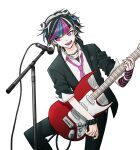 1boy :o absurdres black_hair black_jacket black_nails black_scrunchie black_shirt blue_hair bracelet choker collared_shirt danganronpa_(series) danganronpa_2:_goodbye_despair ear_piercing electric_guitar fake_horns genderswap genderswap_(ftm) guitar hand_on_hip hand_up highres holding holding_instrument horns instrument jacket jewelry male_focus microphone_stand mioda_ibuki multicolored_hair music nail_polish necktie no_(xpxz7347) open_mouth piercing pink_eyes pink_hair pink_neckwear playing_instrument school_uniform scrunchie shiny shiny_hair shirt short_hair sleeves_folded_up solo transparent_background white_hair white_shirt wrist_scrunchie