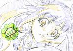 1girl animation_paper clenched_hand close-up clover clover_earrings color_trace colored_pencil_(medium) commentary cure_rosetta dokidoki!_precure eyebrows_visible_through_hair foreshortening four-leaf_clover frown hair_ornament heart heart_hair_ornament highres incoming_attack incoming_punch itaoka1 key_frame lips looking_at_viewer magical_girl partially_colored portrait precure production_art punching solo traditional_media twintails yotsuba_alice