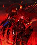 1boy 1girl bangs black_bodysuit black_cape bodysuit brother_and_sister cape enilefilnoztlaw fate/grand_order fate_(series) fire hair_between_eyes hair_over_one_eye highres long_hair mask monochrome oda_nobukatsu_(fate/grand_order) oda_nobunaga_(fate)_(all) oda_nobunaga_(maou_avenger)_(fate) red_cape red_theme redhead siblings very_long_hair