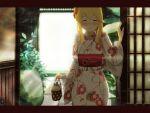 1girl architecture bag blonde_hair blush clarice_(idolmaster) closed_eyes east_asian_architecture floral_print handbag holding holding_bag idolmaster idolmaster_cinderella_girls japanese_clothes kimono letterboxed motomoufu_(p_blanket) plant print_kimono sidelocks smile solo white_kimono wide_sleeves