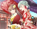 2girls :d alternate_costume aqua_eyes aqua_hair blue_eyes brown_hair facing_another floral_print flower hair_bun hair_flower hair_ornament haori holding holding_umbrella japanese_clothes kantai_collection kimono kumano_(kantai_collection) long_hair multiple_girls oil-paper_umbrella open_mouth red_kimono smile suzuya_(kantai_collection) teramoto_kaoru umbrella