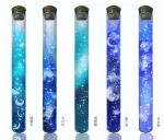 blue_theme clouds commentary_request cork crescent highres jpeg_artifacts no_humans original reflection simple_background star_(sky) still_life test_tube translation_request white_background yasuta_kaii32i