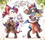 apron blush_stickers braixen closed_mouth coco7 commentary cup fire flame gen_4_pokemon gen_6_pokemon hatted_pokemon lucario mug pokemon pokemon_(creature) pokemon_cafe_mix saucer smile standing waist_apron yellow_fur
