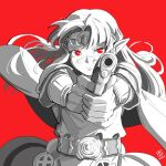 1girl automatic_giraffe bangs belt cape dated english_text floating_cape floating_hair gun handgun holding holding_gun holding_weapon long_pointy_ears parted_bangs pistol pointy_ears princess_zelda red_background red_eyes solo spot_color super_smash_bros. the_legend_of_zelda the_legend_of_zelda:_a_link_between_worlds v-shaped_eyebrows weapon
