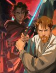 2boys anakin_skywalker bangs beard black_robe brown_hair commentary debris energy_sword english_commentary facial_hair frown grey_eyes holding holding_sword holding_weapon jedi lightsaber long_sleeves looking_at_viewer male_focus multiple_boys mustache obi-wan_kenobi outdoors red_eyes red_sky serious short_hair sith sky split_screen standing star_wars star_wars:_revenge_of_the_sith sword thisuserisalive weapon white_robe