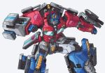 1boy absurdres autobot blue_eyes clenched_hands english_commentary highres insignia lextodrawstuff looking_to_the_side mecha missile_pod no_humans optimus_prime science_fiction signature solo transformers white_background