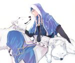 1boy animal belt blue_hair capelet closed_mouth cu_chulainn_(fate)_(all) cu_chulainn_(fate/grand_order) fate/grand_order fate_(series) fur-trimmed_hood fur_trim hood hood_up hooded_capelet long_hair male_focus red_eyes sabo_ch simple_background type-moon white_wolf wolf