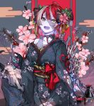 1girl absurdres ahoge alternate_costume alternate_hairstyle animal_skull blue_background blush bone bow cherry_blossoms closz colored_skin cow_skull eyebrows_visible_through_hair floral_print green_eyes grey_hair grey_skin hair_ornament hair_up heterochromia highres hololive hololive_indonesia japanese_clothes kanzashi kimono knot kureiji_ollie looking_at_viewer multicolored_hair obi open_mouth patchwork_skin red_bow redhead sash solo spine two-tone_hair udin_(kureiji_ollie) yellow_eyes